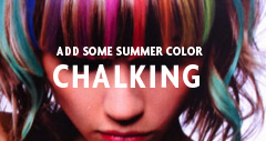 girl with multi-colored chalking hair color